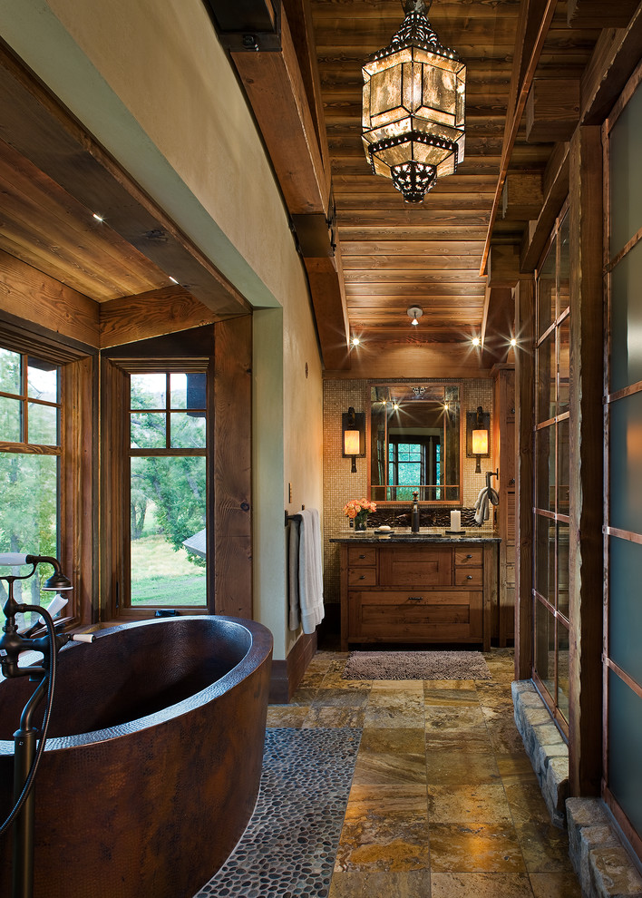 Rustic Bathroom With Bathtub
