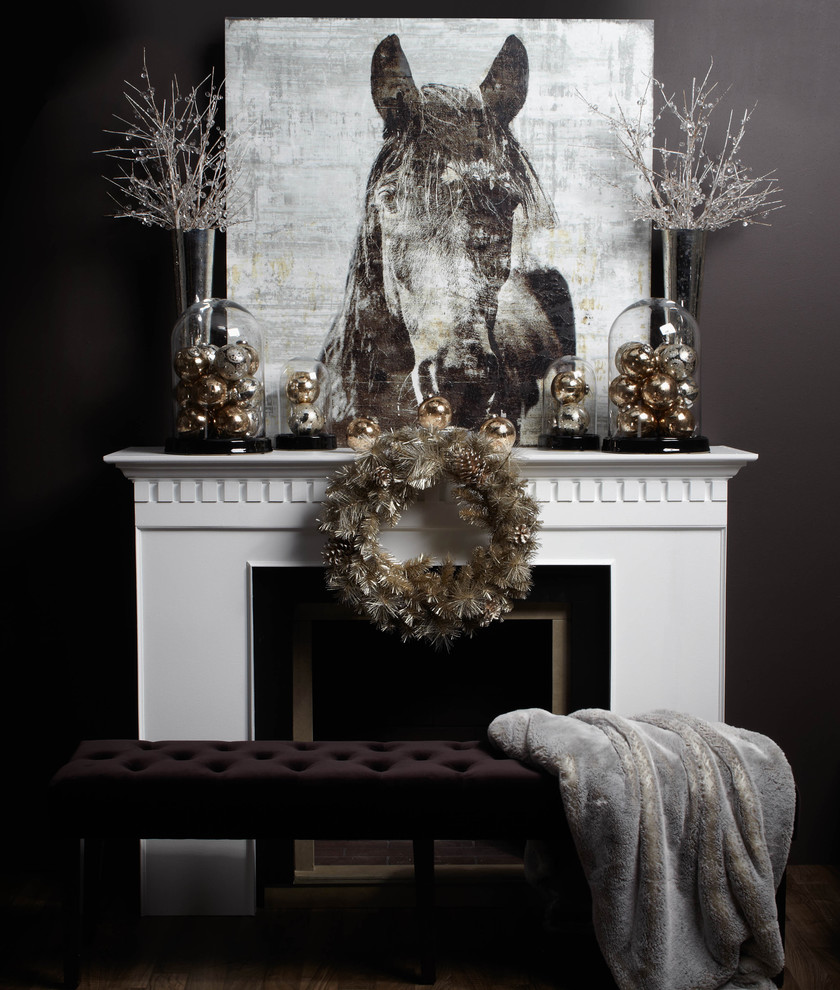 Modern Family Room Grey and Gold Christmas Decoration