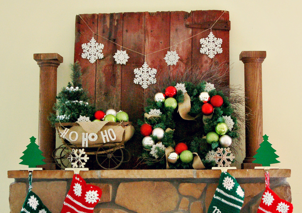 Rustic Fireplace Christmas Decoration