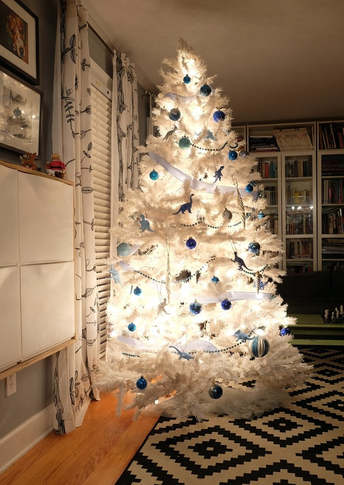 Blue And Silver Glittery Christmas Tree