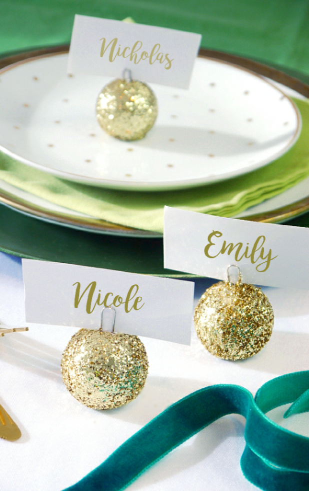 DIY Christmas Bauble Ornament Place Card Holder