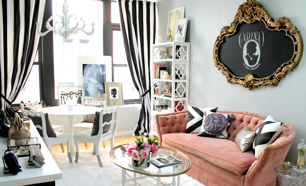 Small Shabby-Chic Style Living Room