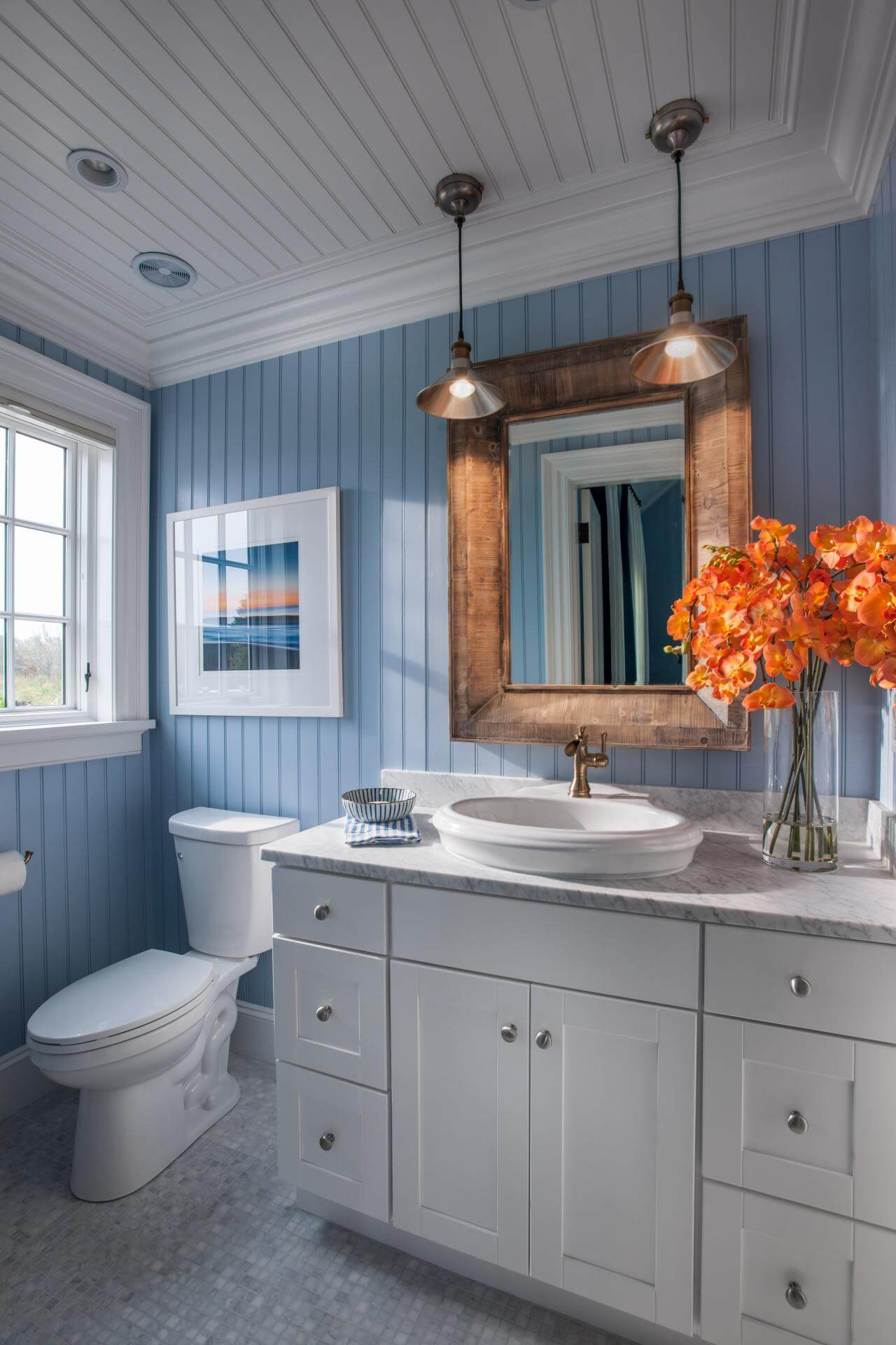 Beach Style Small Bathroom With Copper Accent