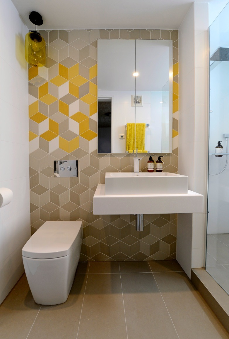 Geometric Tiles Small Bathroom Design