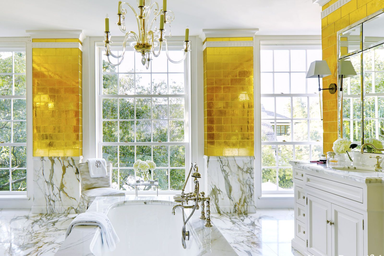 Master Bathroom With Gold Leaf Tiles