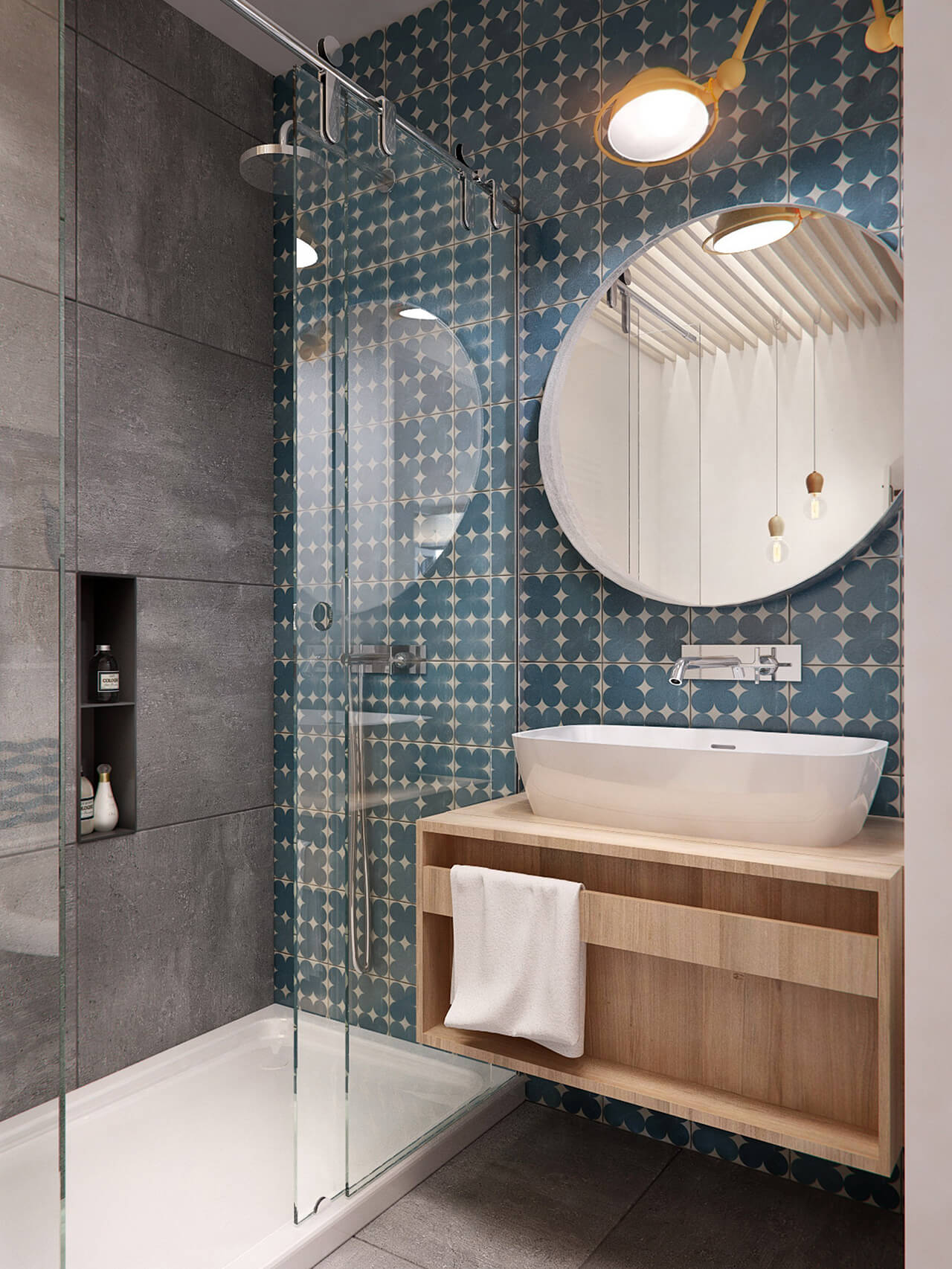 Small Bathroom with walk in Shower & Patterned Wallpaper