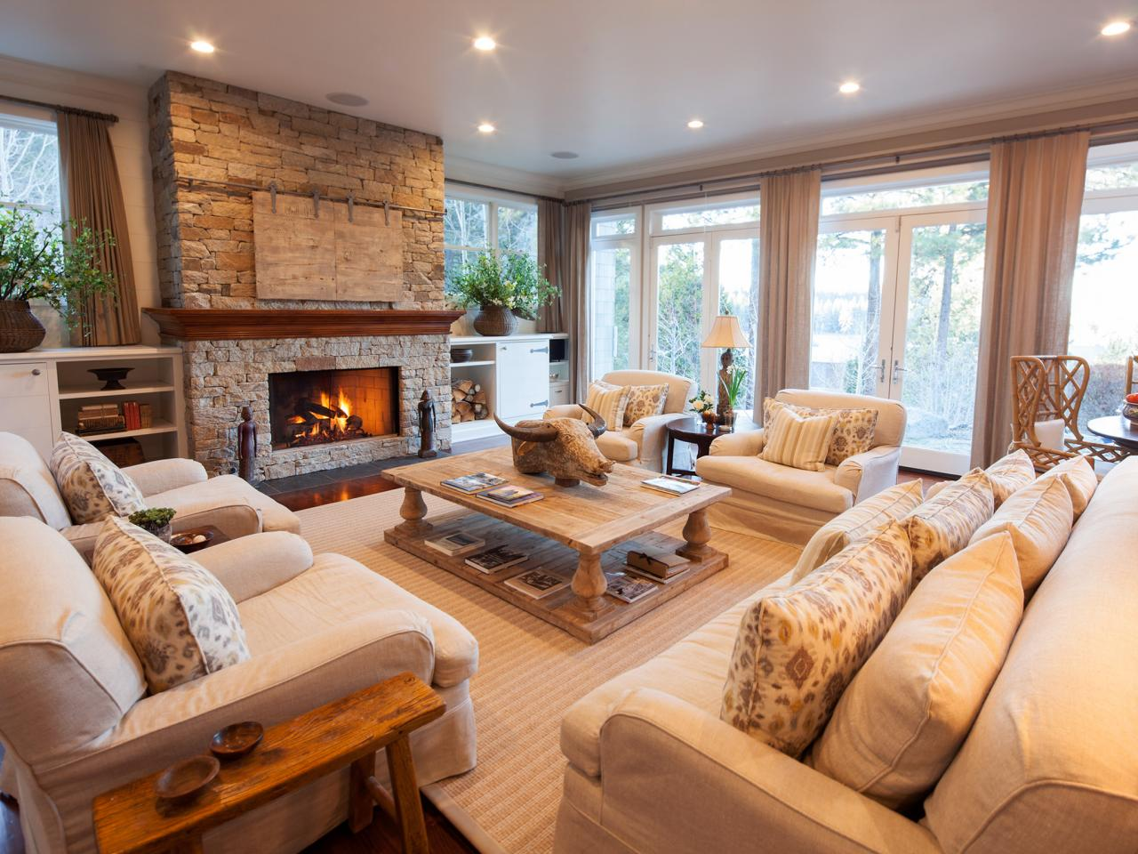 Traditional Living Room With Fireplace