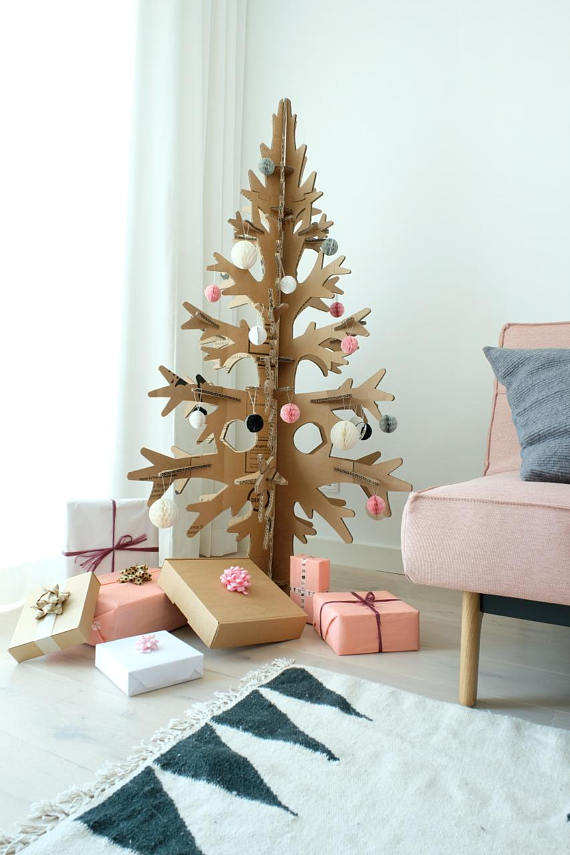 Brown Cardboard Laser-cut Modern Cut-out Christmas Tree dwellingdecor