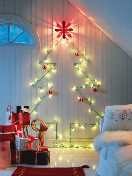DIY Wall Light Christmas Trees dwellingdecor