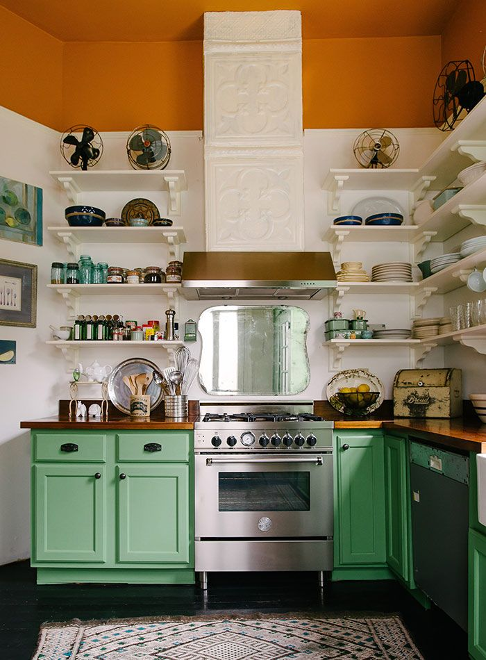Eclectic Colorful Kitchen With Mint Green Cabinets Dwellingdecor
