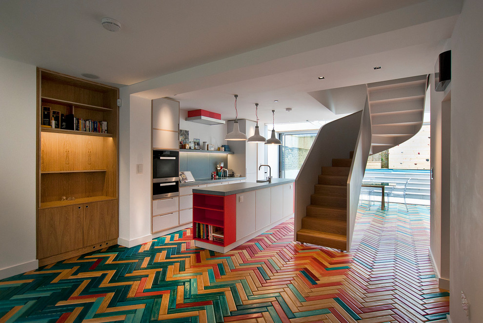 Multicolored Kitchen Tiles With Wooden Shelves