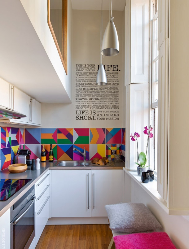 Narrow Kitchen With Bright Wallpapers Dwellingdecor