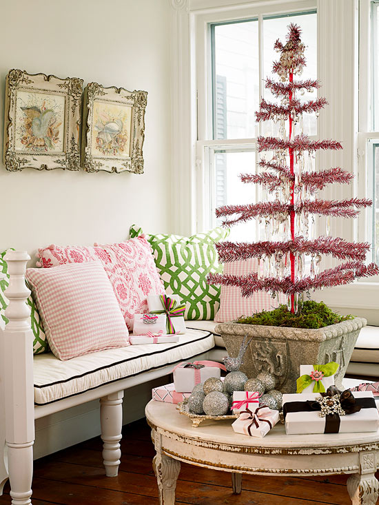 Pink-and-Green Christmas Tree dwellingdecor