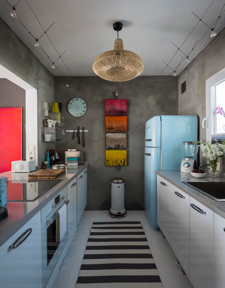 Small Eclectic Galley Ceramic Floor Enclosed Kitchen Dwellingdecor