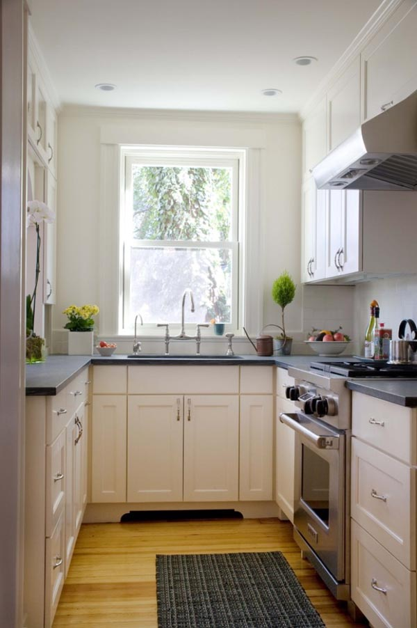 Small Kitchen With White Black And Brown Color Combination