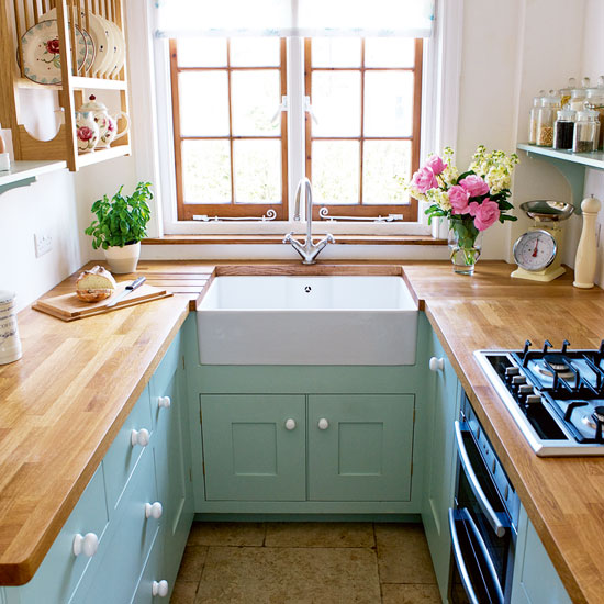 Small kitchen with white walls With Green cabinets Dwellingdecor