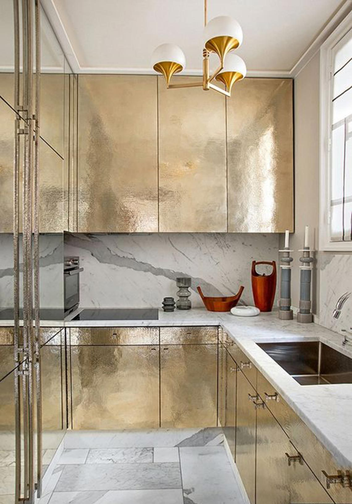 Sophistication Kitchen With Gold Color Cabinets Dwellingdecor