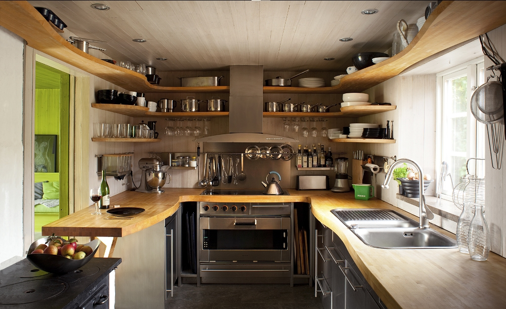 U-shaped Kitchen With Wooden Countertop & Steel Cabinets Dwellingdecor