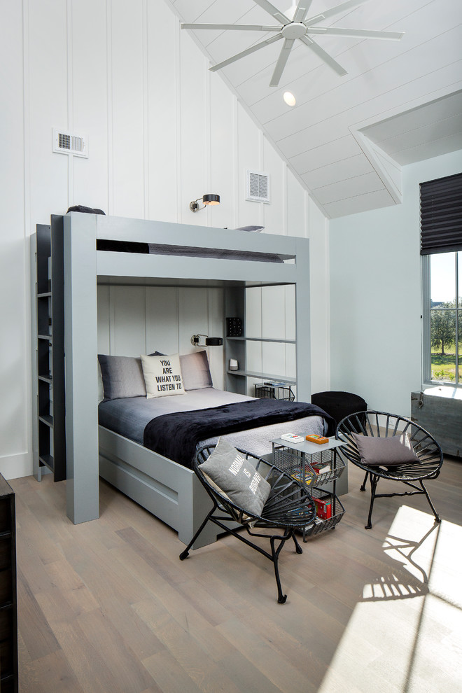 Large contemporary boy Bedroom With gray Wooden Floor Dwellingdecor