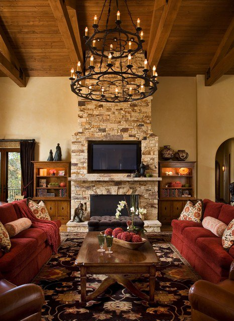 Rustic Living Room With Large Fireplace & Seating Area