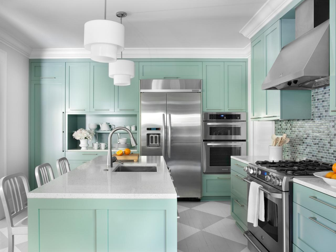 White Countertops With Turquoise Green Cabinets dwellingdecor