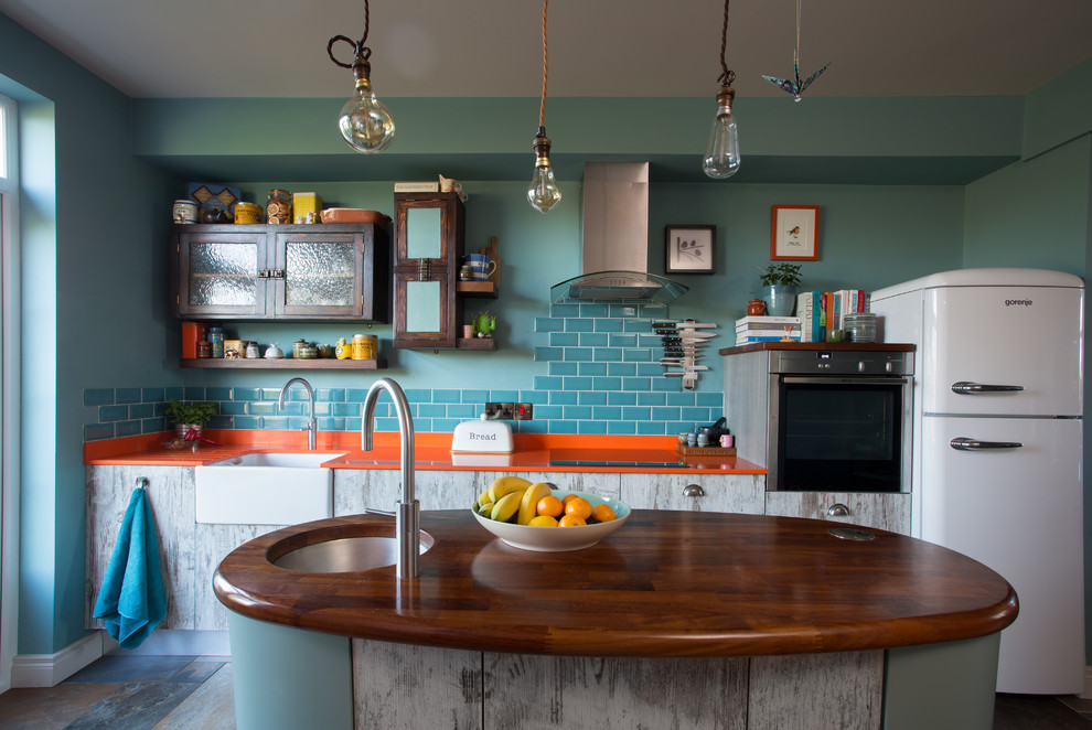 Eclectic Single-wall Multicolored Floor Open Concept Kitchen