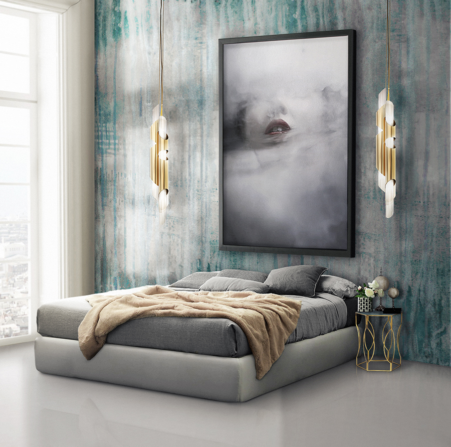 Neutral Grey Bedroom Design With Wallpaper