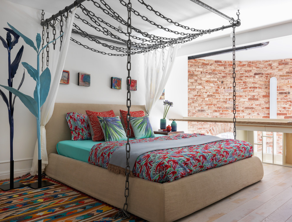 Small Eclectic Loft-style Painted Beige Floor Bedroom Dwellingdecor