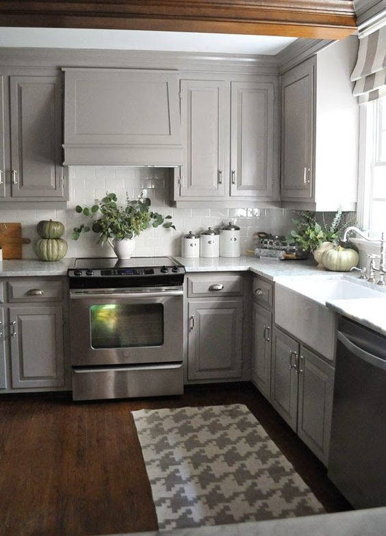 Small Kitchen With Gray Painted Cabinets & Dark Hardwood Flooring