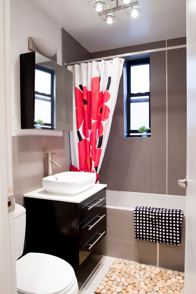 Contemporary Bathroom For Couple With shower curtain Dwellingdecor