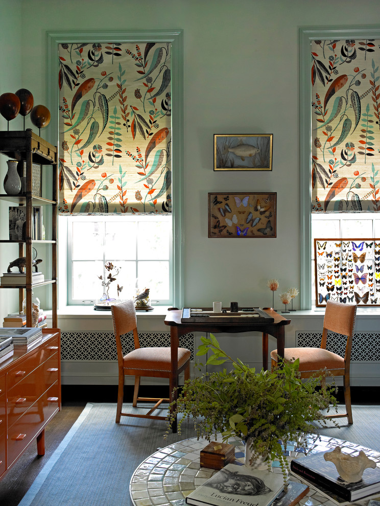 Eclectic Family Room Colorful Curtains