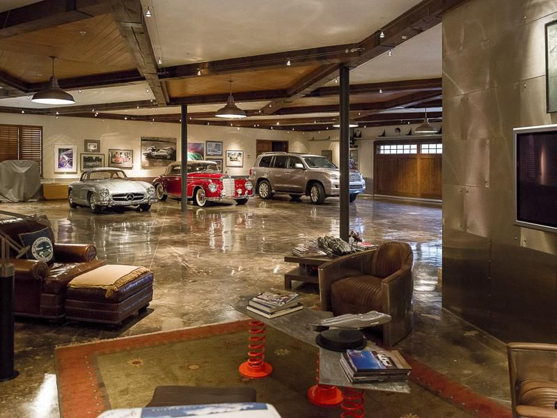 Eclectic Garage With Columns & Exposed Beam Dwellingdecor