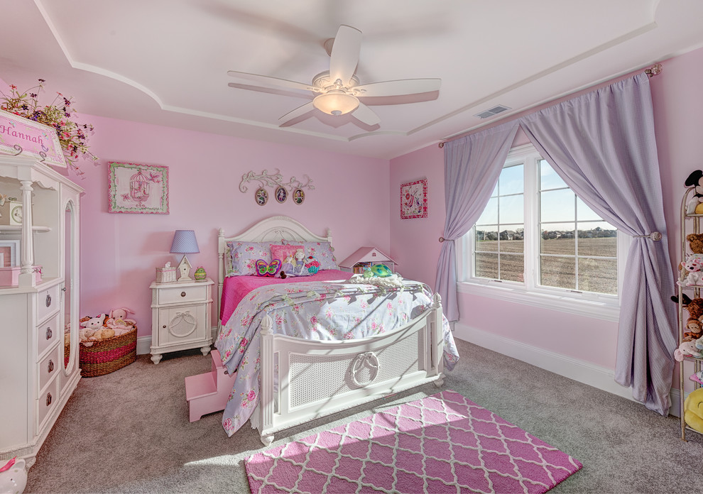 Traditional Girl Carpeted and Gray Floor Kids Dwellingdecor
