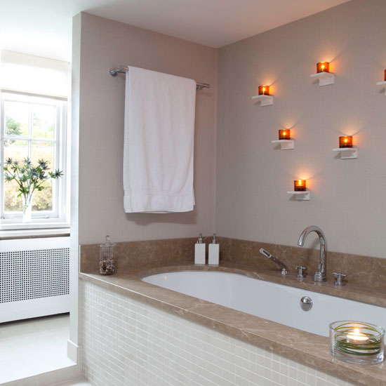 Bathroom With Decorative Wall Lights Dwellingdecor