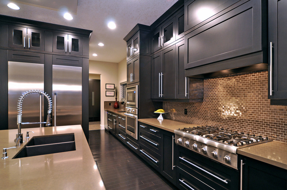 Contemporary Kitchen With Stainless Steel And Chrome Hardware