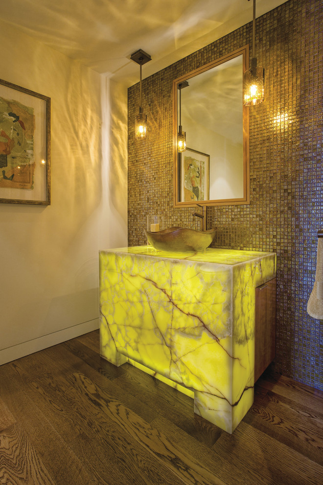 Contemporary Powder Room With inbuilt Countertop Light Dwellingdecor
