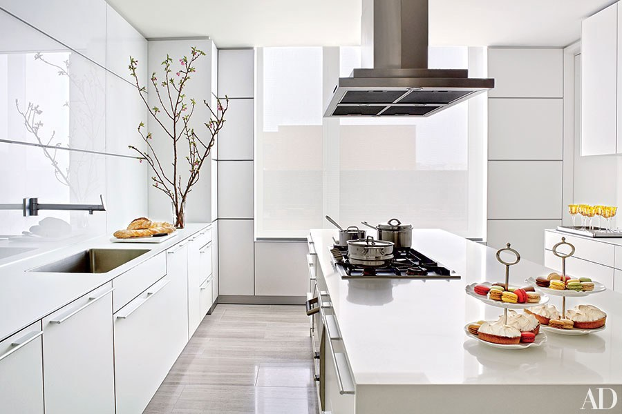 Glossy White Surfaces Contemporary Kitchen Dwellingdecor
