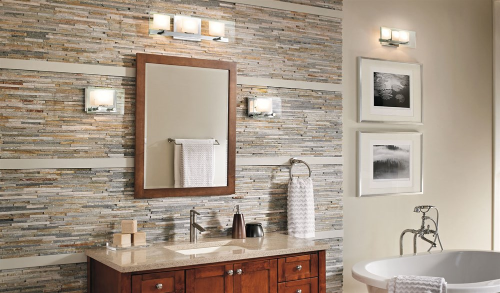 Large Bathroom With Wall Lights Dwellingdecor