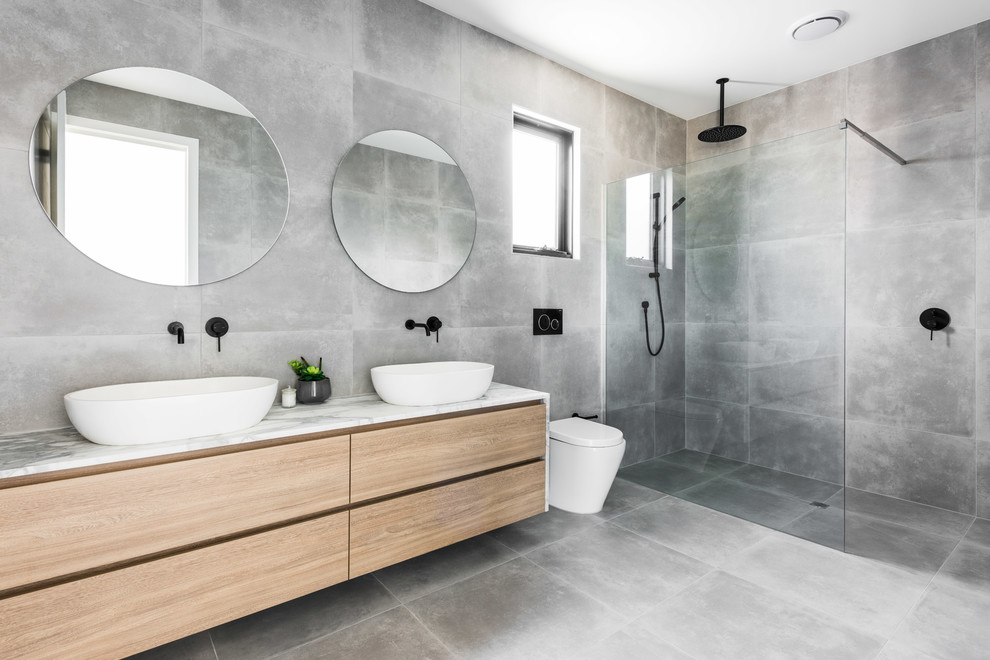 Mid-sized Modern Gray Floor Walk-in Shower Dwellingdecor