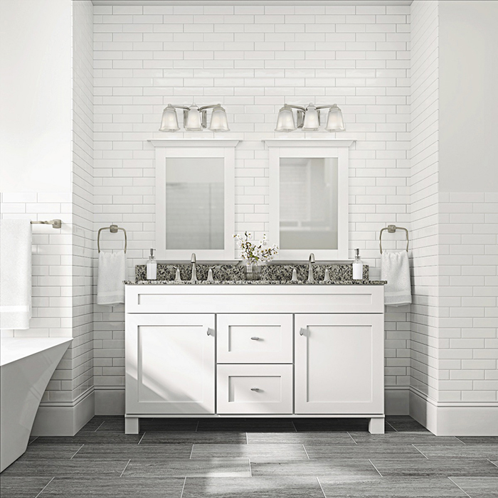 Modern Bathroom With Vanity Lights Dwellingdecor