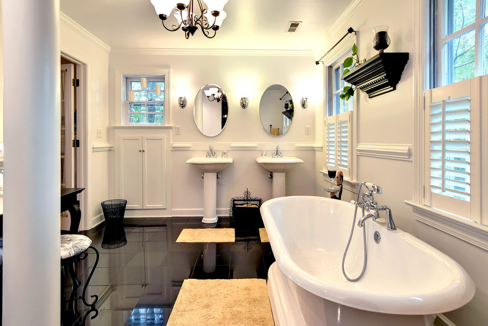 Traditional Bathroom With Double vanity & bathtub dwellingdecor