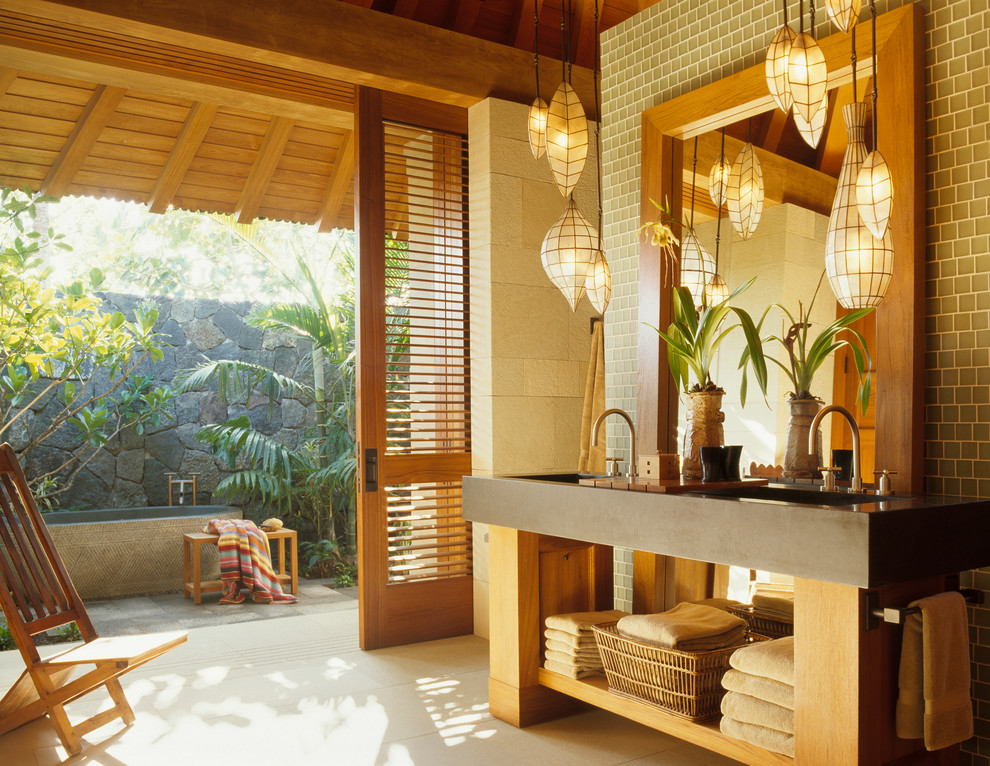 Tropical Bathroom Lighting Ideas Dwellingdecor