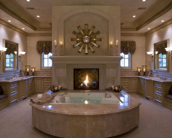Luxury Master Bathroom Design Ideas With Fireplace