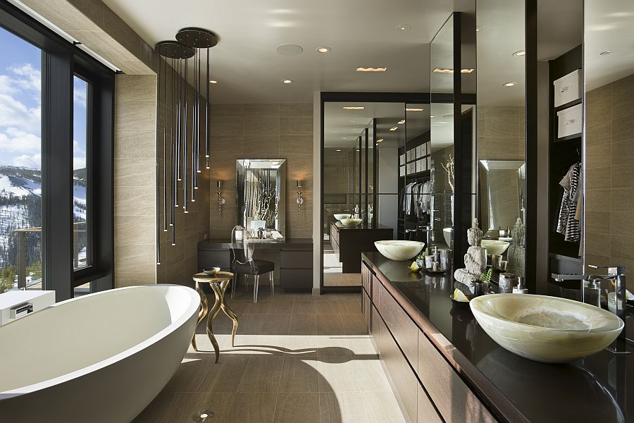 Luxury Master Bathroom Designs With Marble Floor And White